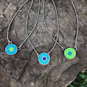 Inlaid evil eye necklace